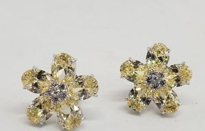 Large statement canary crystal flower earrings